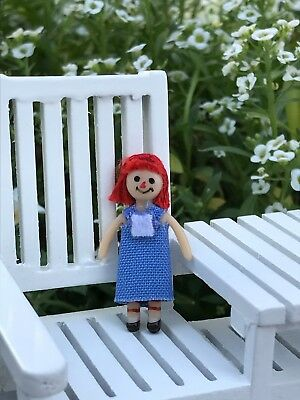 -Miniature Dollhouse FAIRY GARDEN  Accessories ~ Tiny Rag Raggedy Ann Style Doll
