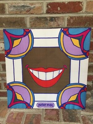 Peter Max Smile Scarf 21x21 Mounted on Board