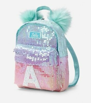 """Justice Girls Mini Ombre Sequin Backpack Bag Initial """"A""""C""""E""""J""""M""""O""""R""""K""""S""""V"""" NWT"""