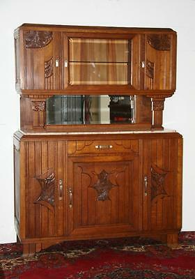 Authentic French Art Deco Sideboard/buffet/cabinet In Oak And Granite Ca 1930