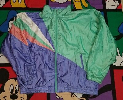 VTG 90s Adidas Jacket Womens Large Pastel Purple Green Green Track Windbreaker
