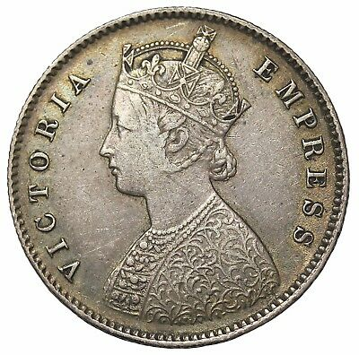 British India 1889-C Queen Victoria Silver 1/2 Half Rupee KM#491
