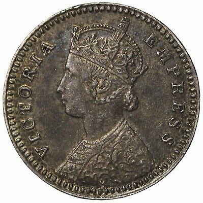 British India Queen Victoria 1892-C Silver 2 Annas KM#488