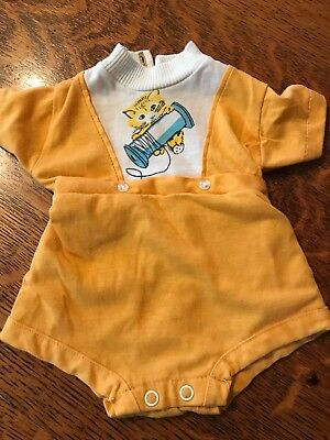 Vintage One Piece Baby Outfit Romper Kitty w Spool Thread Plastic Lined Bottom