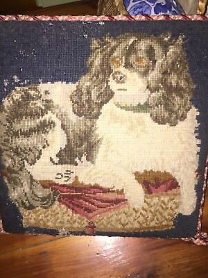 Antique Spaniel Dog Needlepoint Tapestry From English Estate
