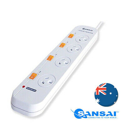 Sansai 4 Individual Switch Socket/Outlet Powerboard w/ Overload Protection