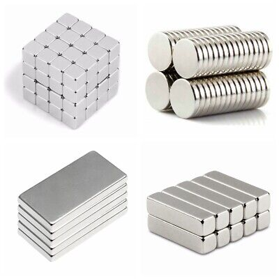 5/10/100x Neodymium Magnets Strong Cuboid Cube Block Rare Earth Magnets N50 N52
