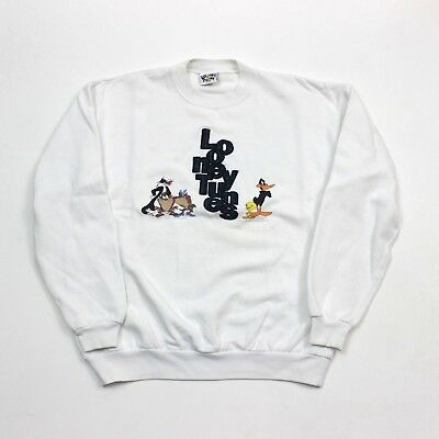 VTG 90s Looney Tunes 1995 White Character Spell Out Sweatshirt USA Men's Large