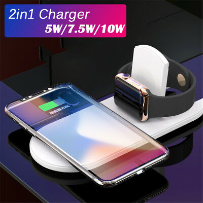2 In1 Foldable QI Wireless Charger Holder for IPhone X 8 Apple Watch 3 Air Power