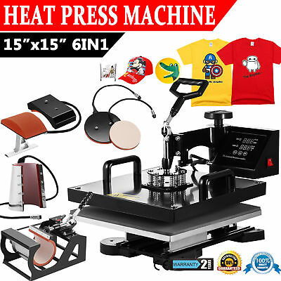 15X15 6 in 1 Transfer Sublimation T-Shirt Mug Hat Plate Cap Heat Press Machine