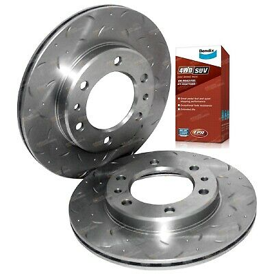 2 Drilled+Slotted Front Disc Brake Rotors suits 70 75 Series + Bendix Pads
