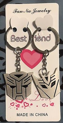 Transformers Autobot Decepticon Symbol Keychain Metal~1 Pair~HIS & HERS~GIFT NEW