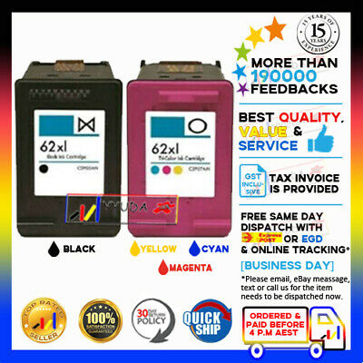 2x Ink Cartridges 62XL B & C for HP ENVY 5540 5640 7640 Officejet 5740 Printer