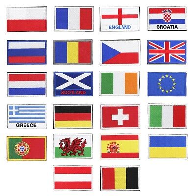 European National Flag Magic Patches Badge Embroidery Armband Stickers Bag Patch