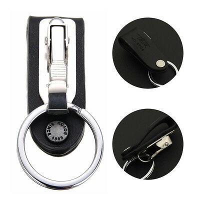 Auto Stainless Steel Leather Detachable Keychain Belt Clip Key Chain Ring Holder