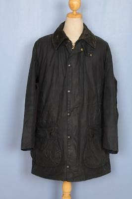 Mens BARBOUR Border WAXED Jacket Navy Size 42