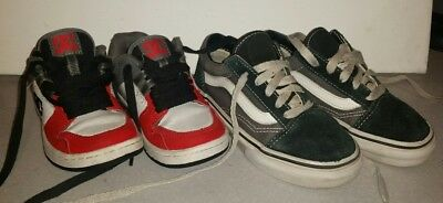 787ba7760a42a9 Lot 2 Kids Shoes Size Us 11 Dc Skate Spark Rs Red White Black Grey Leather