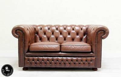 Chesterfield Chippendale Sofa Leder Antik Vintage Couch Englisch