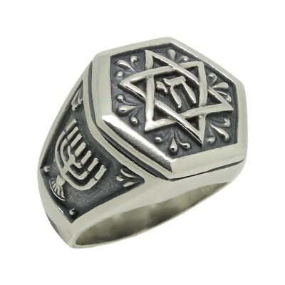 Star of David sterling silver 925 men's ring Jewish Judaism Handcrafted US Sizes