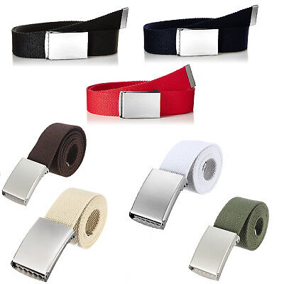 Unisex HQ Webbing Belts for Girls Ladies Men with Silver Buckle Plain Fabric