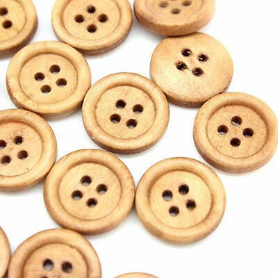 50Pcs/Lot* Natural Wood Wooden 4 Hole Buttons 25mm Light Coffee Sewing Craft DIY