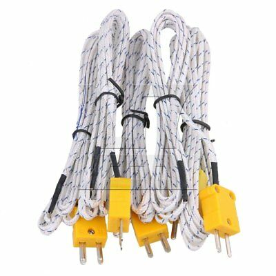 200cm K Type Thermocouple cable Set of 5 White
