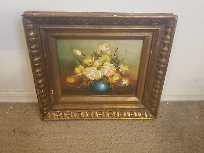 Signed Robert Cox Still Life Blue Vase Floral Painting Oil On Wood Framed 14X12