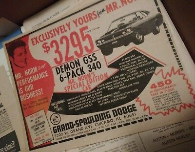 dodge ad demon gss 340 mr norm grand spaulding duster a body supercharged 72