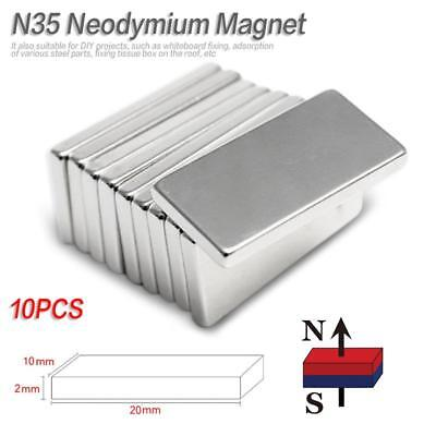 10Pcs N35 Neodymium Block Magnet 20x10x2mm Super Strong Rare Earth Magnets UK