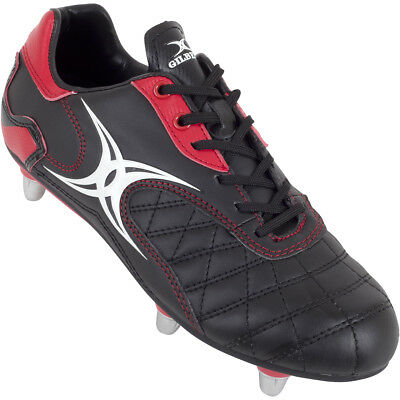 Clearance New Gilbert Sidestep Revolution Rugby Boots Junior Black Red Size 2.5