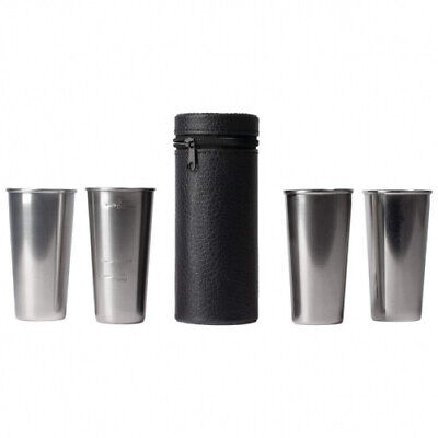 Maxam Stainless Steel 4pc Double-Shot Sized Shot Glass Set w/Carry Case
