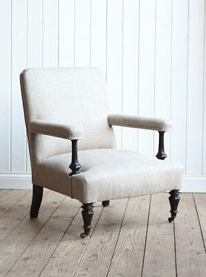 Vintage Antique French Newly Upholstered Napoleon III Arm Chair Victorian
