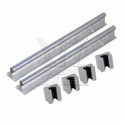 30cm Linear Bearing Support Rail w/ Open Linear Bearing Slide Set of 6 Silver