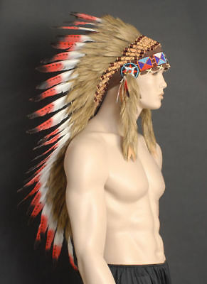 NATIVE AMERICAN CHIEF INDIAN FEATHER HEADDRESS-HEADBAND-HAIRBAND-COSTUME-PARTY