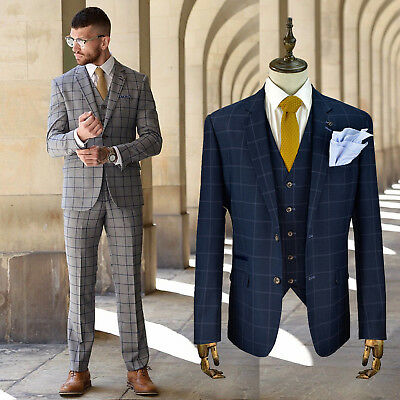 Cavani Mens 3 Piece Check Formal Suit Blazer Waistcoat Trousers Sold Separately