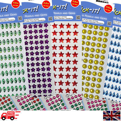 Self Adhesive Diamante Crystal Sticky Rhinestone Gems 5 Shapes 6 Size 20 Colours
