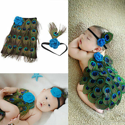 Newborn Baby Peacock Photo Photography Prop Costume Headband Hat Clothes Set FT