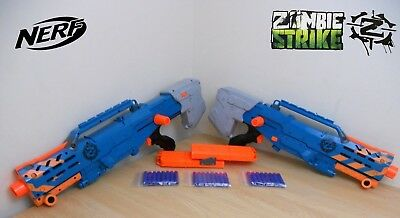 2 Nerf Zombie Strike Longshot CS-6 Gun N-Strike Elite 24 Bullets/Darts magazine