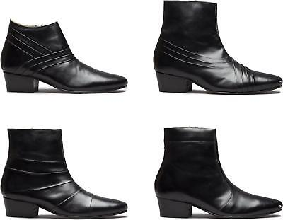 Club Cubano Mens Leather Formal Evening Classic Hand Made Cuban Heel Ankle Boots