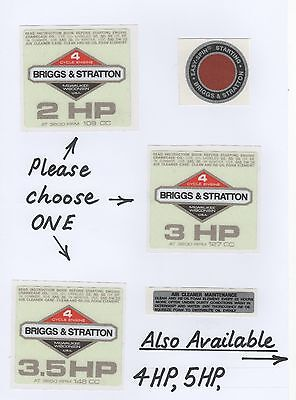 Briggs & Stratton Vintage Minibike Repro 'Off-White' Engine Decals