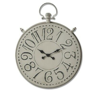 Large Antique Style Grey Metal Pocket Watch Wall Clock (H18576) 99cm
