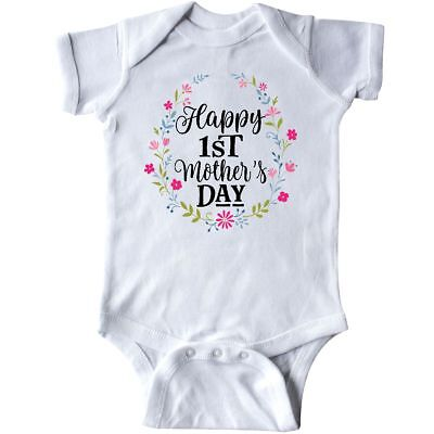 Inktastic Happy 1st Mothers Day Outfit Girls Infant Creeper Babys First Flowers