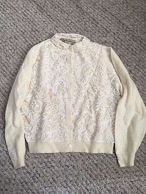 Vintage Cashmere and Lace Button Up Cardigan by Braemar, Made in Scotland