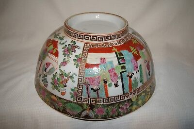 Gorgeous Large Chinese Export Rose Medallion Punch Bowl 13 3/4""