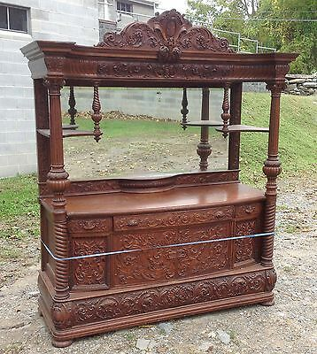 Victorian Carved Oak Hooded Sideboard, Attr. R.j. Horner