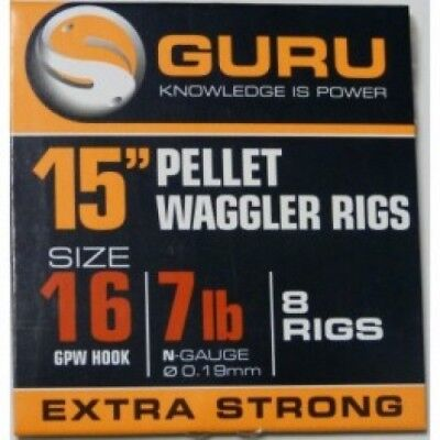 """Guru 15"""" Bait Band Gpw Pellet Waggler Rigs - 8 Rigs Per Pack All Sizes"""