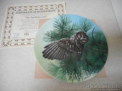 Saw-Whet Owl Stately Owls Bird Of Prey Collectors Plate 1991 Jim Beaudoin