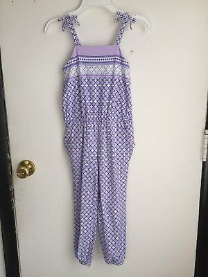 JANIE AND JACK Girls Lavender Print Cotton Romper Pants One Piece Sz 6
