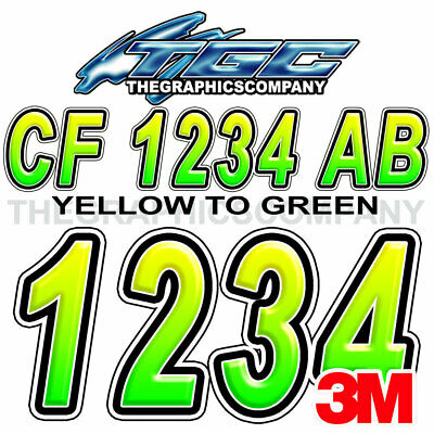 Yellow Green Custom Boat Registration Numbers Decals Vinyl Lettering Stickers