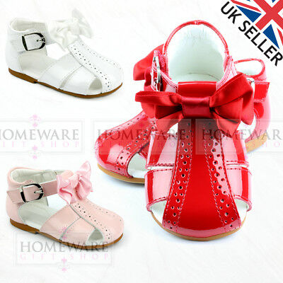Girls Baby Spanish Bow Sandals Shiny Patent Spider Sandal Pink Red White New Uk